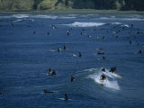Number of Surfers Show the Popularity of Surfing at Pacific Beach Park  San Diego  California