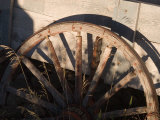 An Old Wagon Wheel Sits Rotting in the Afternoon Sun