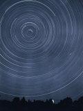 A Time-Exposure Creates Circular Star Tracks Around Polaris