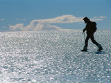A Hiker Traverses Bare Glacial Ice Near the Patriot Hills
