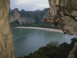 A Climber Negotiates an Overhang on Railay Beach
