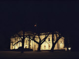 A Night View of the White House Decorated for the Holidays