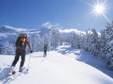 Cross-Country Skiers in the Selkirk Range  British Columbia  Canada