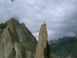 A Climber Stands Atop Tahir Tower  Karakoram Moutnains  Pakistan