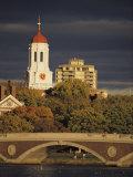 View of Harvard University Behind a Bridge Crossing the Charles River
