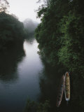 Two Long Canoes on a River Running Through the Costa Rican Rainforest