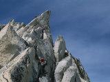 Mountain Climbers Make Their Way up Bugaboo Spire