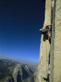 A Man Climbing Half Dome  Yosemite  California