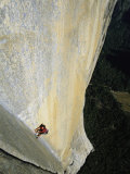 A Man Rock Climbing on El Capitan  Yosemite  California