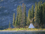 A Tepee is Built on the Edge of Cli Lake