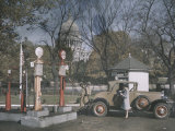 A Filling Station in the Shadow of the United States Capitol  Photograph Dated 1929