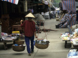 Woman with Bamboo Hat Carries Balanced Baskets  Pingxiang Market