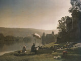 Autochrome of Artists Painting on the Banks of the Dordogne River  Autochrome Dated the 1920s