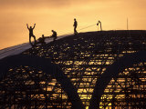 Construction Workers on Dome of Swimming Pool at Sunset  Qinhuangdao