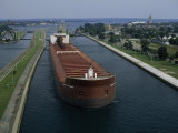 Ore Freighter Ship Exits the Soo Locks on the St Mary's River  Michigan