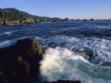 Surf Pounds and Swirls Around Bird Rock at Weston Beach