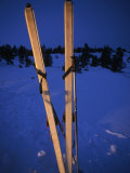Cross-Country Skis Standing Upright at a Snow Camp at Dusk  Tahoe National Forest  California