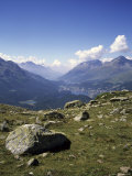 A View of the Lakes Down the Engadine Valley on a Summer Day  St Moritz S Witzerland