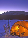 Winter Camping with Snowshoes  East Glacier  Montana  USA