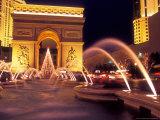 Paris Hotel and Casino Fountains in Front of L'Arc de Triumph Replica  Las Vegas  Nevada  USA