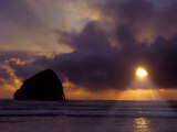 Sunset Over the Pacific Ocean from Cape Kiwanda  Oregon  USA