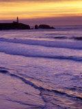 Waves near Yaquina Head Lighthouse at Sunset  Newport  Oregon Coast  USA