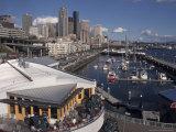Bell Street Pier and Harbor on Elliott Bay  Seattle  Washington  USA