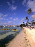 Beaches and Hotels along Tumon Bay  Guam  USA