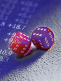 Sixes on All Sides of Dice with Stock Market Numbers