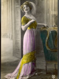 The Directoire  Empire Silhouette: High-Waisted Pink and Gold Gown with an Embroidered Corsage