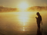 Silhouetted Fly Fisherman  Dillon Reservoir