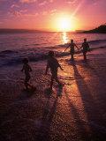 Family Walking on Beach at Dusk  HI
