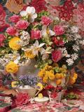 Spring Flower Arrangement  Ranunculus Asiaticus  Rosa Narcissus and Myosotis