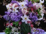 Daffodil  Tulip  Bluebells  and Bleeding Heart in Glass Vase