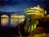 Cruise Ships in Dock Lit up at Night  Barbados