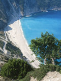 Kefalonia  View South from Cliff Tops Over White-Pebbled Beach at Myrtos