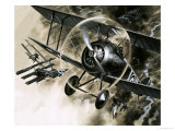 Unidentified Dog Fight Between British Biplanes and a German Triplane