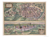 Map of Poznan and Gruczno  from Civitates Orbis Terrarum by Georg Braun