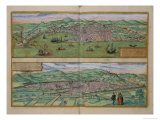 Map of Genoa and Florence  from Civitates Orbis Terrarum by Georg Braun