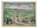 Town Plan of Seville  from Civitates Orbis Terrarum by Georg Braun