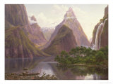 Native Figures  Milford Sound  New Zealand  Also Depicted Are Mitre Peak and Bowens Fall  1892