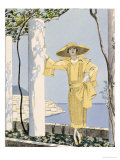 Amalfi  Illustration of a Woman in a Yellow Dress by Worth  1922
