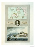 Map of Elba  View of Porto Ferraio with Portrait of Napoleon and Signature  c1815