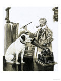 Artist Painting the Dog Listening at a Gramaphone