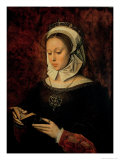 Young Woman Reading a Book of Hours