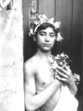 Portrait of a Bare-Chested Sicilian Youth His Head is Crowned with a Flower Garland