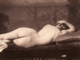 Portrait of a Nude Woman Lying on a Couch with Her Back to the Camera
