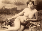 Portrait of a Nude Woman Sitting on the Floor
