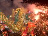 Dragon Performers at Chinese Thanksgiving Festival  Khon Kaen  Isan  Thailand