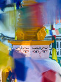 Buddhist Stupa Viewed Through Prayer Flags at Night  Kathmandu  Nepal